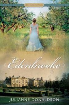 Edenbrooke book cover: girl in a long dress standing in an orchard, above a picture of a historic estate