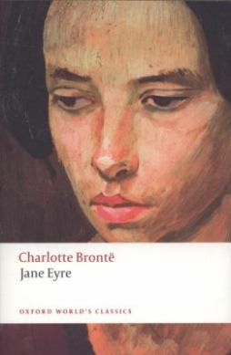 cover of book Jane Eyre featuring a close up of a woman's face looking downward