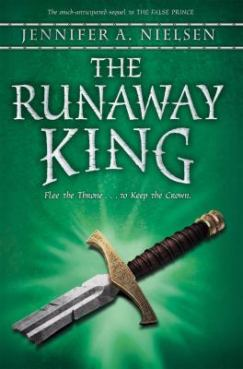"book cover for ""The Runaway King"" - a broken sword on a green background"