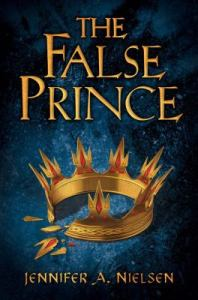 book cover for The False Prince featuring a broken crown