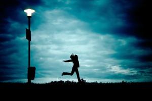 girl running in the twilight