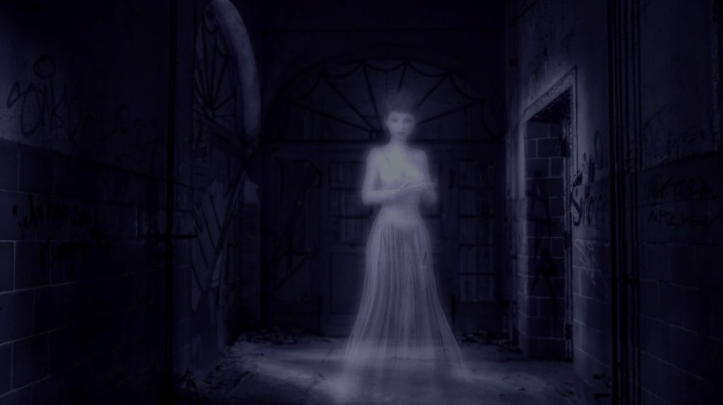 Image of a ghost in a darkened hallway