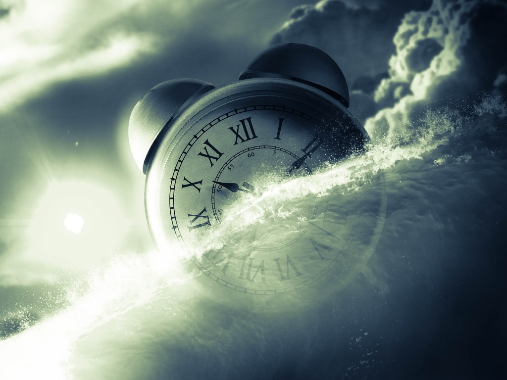 image is of an alarm clock floating in water