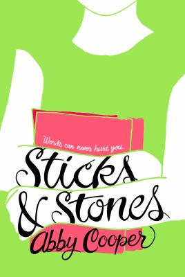 image of the cover of Sticks and Stones by Abby Cooper is bright green with a white silhouette style illustration of a headless torso holding a book.